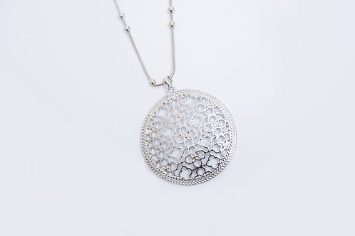 Rhodium Silver Pendant and Necklace