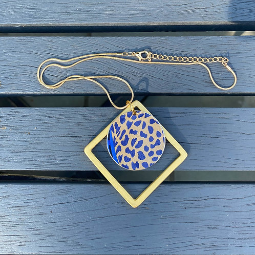 Blue & Gold Coffee Pod Necklace