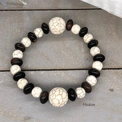 Howlite & Wood Stretch Bracelet