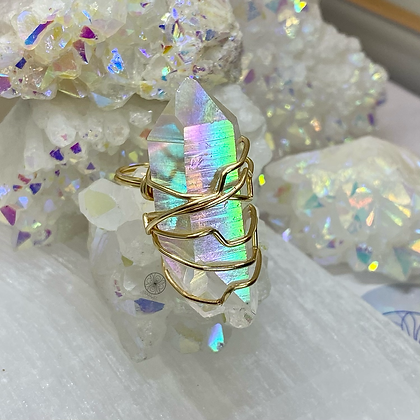 Angel Aura Quartz Brass Ring