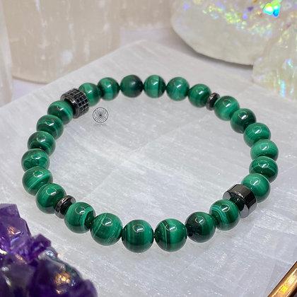 Malachite Hematite Pavé Bracelet