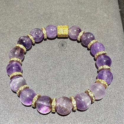 Amethyst Gold Pavé Bracelet