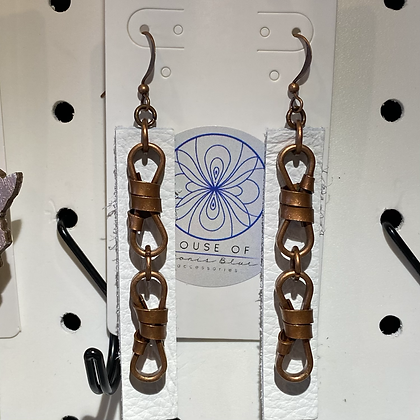 White Leather Copper Knots Earrings