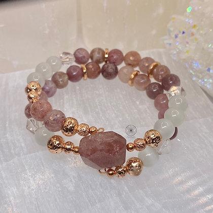 Strawberry Quartz Wrap Bracelet