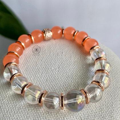 Coral Jade Aura Quartz Rose Gold Pavé Bracelet