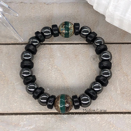Striped Tibetan Agate & Coco Wood Stretch Bracelet