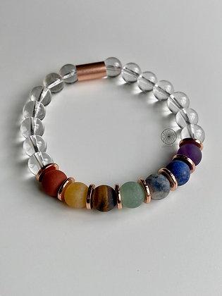 7 Chakras Clear Quartz Bracelet