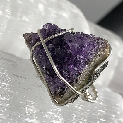 Amethyst Cluster on Sterling Silver Ring