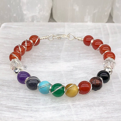 Carnelian Sterling Silver Wrapped Bangle