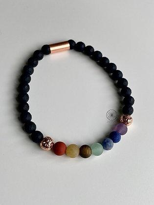 7 Chakras Matte Black Onyx Bracelet