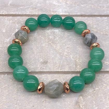 Green Aventurine Labradorite Stretch Bracelet