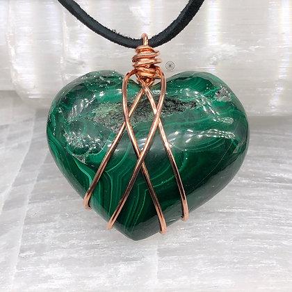 Malachite Druzy Heart Pendant