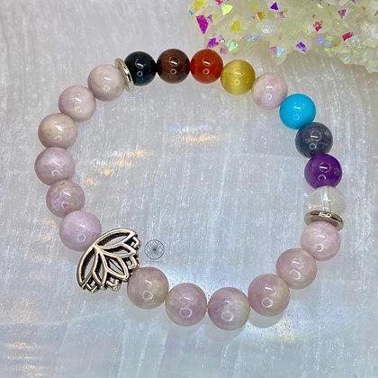 Kunzite Chakra Lotus Bracelet
