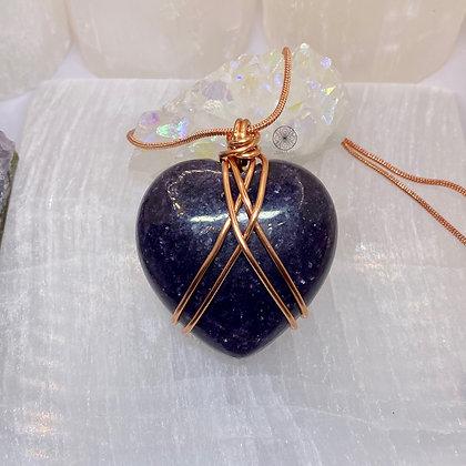 Lepidolite Heart Pendant