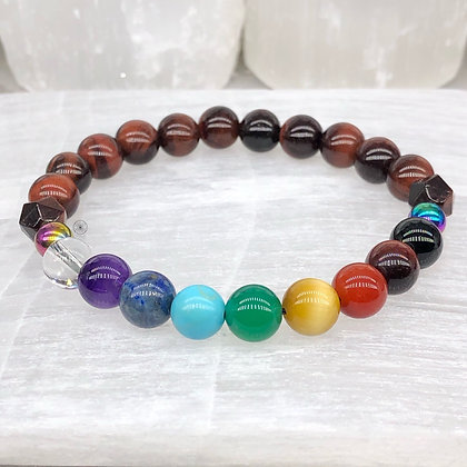 Muladhara Chakra Rainbow Hematite Stretch Bracelet