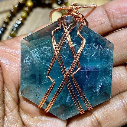 Fluorite Gem Cut Copper Pendant