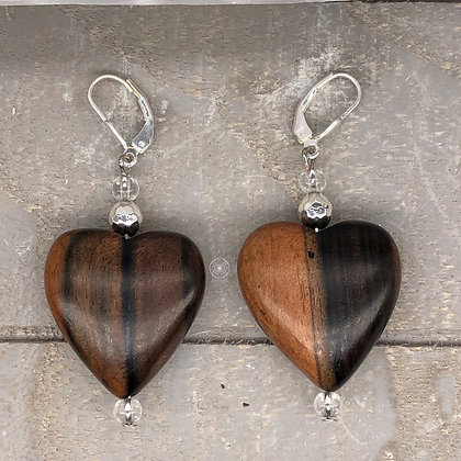 Ebony Hardwood Hearts and Hematite Earrings