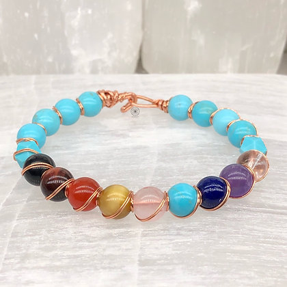 7 Chakra Turquoise Copper Wrapped Bangle