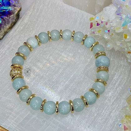 Aquamarine Brass Pavé Bracelet