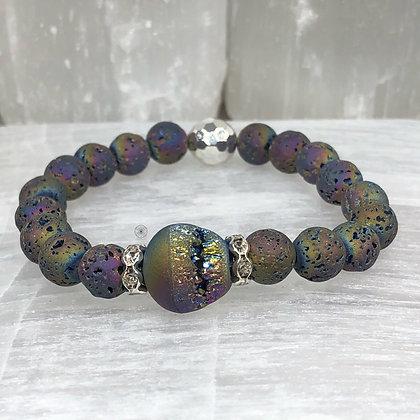 Rainbow Hematite Druzy Bracelet Silver
