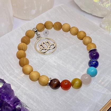 7 Chakras Thuja Wood Charm Bracelet