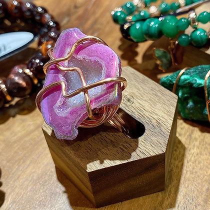 Aura Agate Geode Copper Ring