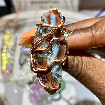 Angel Aura Druzy Agate Ring