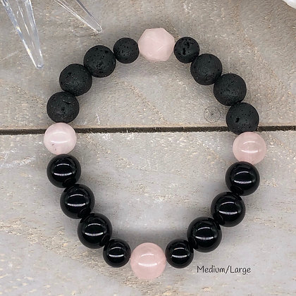 Rose Quartz & Black Onyx AromaStretch Bracelet