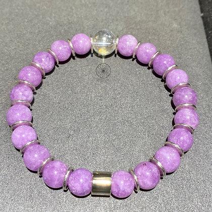 Kunzite Aura Quartz Bracelet