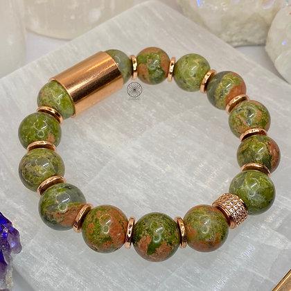 Unakite Copper Bracelet