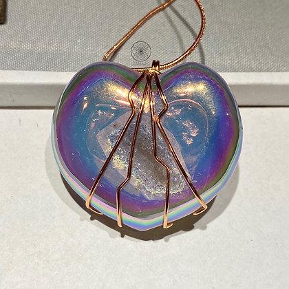 Angel Aura Agate Druzy Heart Copper Pendant
