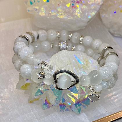 Moonstone Selenite Pavé Wrap Bracele