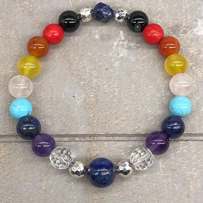 7 Chakra's Lapis Lazuli Stretch Bracelet