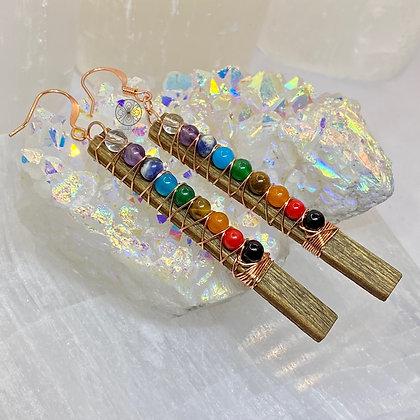7 Chakras Walnut Copper Earrings