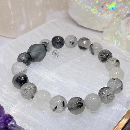 Tourmelated Quartz Grey Glass Bracelet
