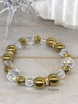 Gold Hematite & Crystal Stretch Bracelet