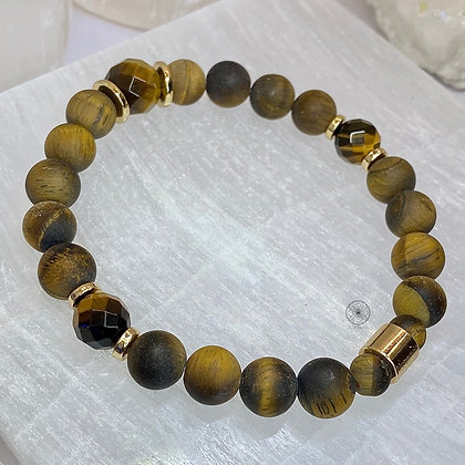 Matte Tiger's Eye Brass Bracelet