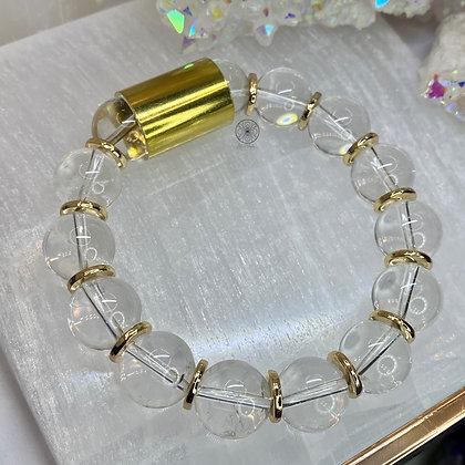 Clear Quartz Brass Bracelet