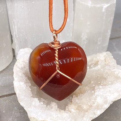 Copper Wrapped Carnelian Heart Pendant