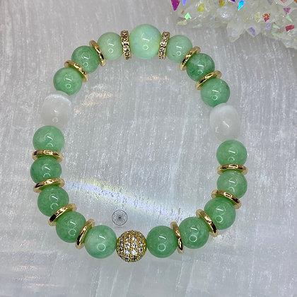 Mint Quartzite Selenite Bracelet
