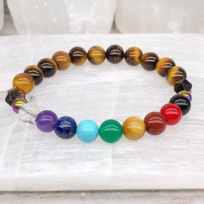 Manipura Chakra Rainbow Hematite Stretch Bracelet