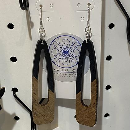 Black Resin Walnut Earrings
