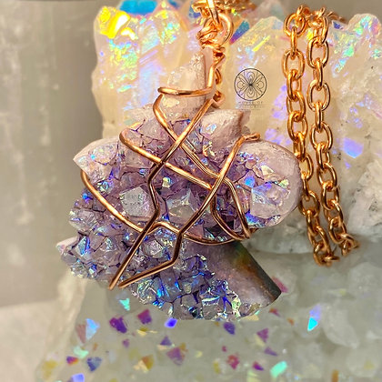 Aura Amethyst Unicorn Copper Pendant