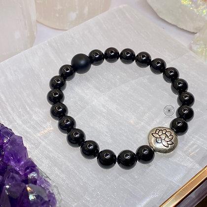 Black Tourmaline Lotus Bracelet