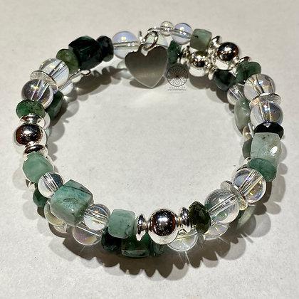 Emerald Silver Wrap Bracelet