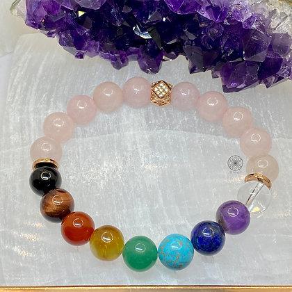 7 Chakras Rose Quartz Bracelet