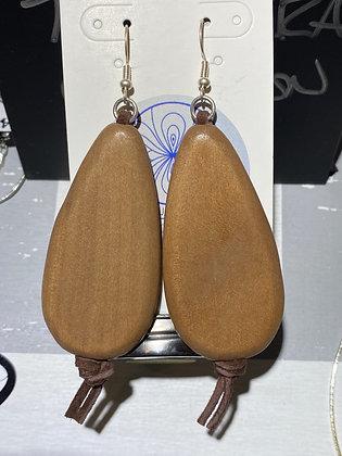 Wood Teardrop Cocoa Suede Earrings