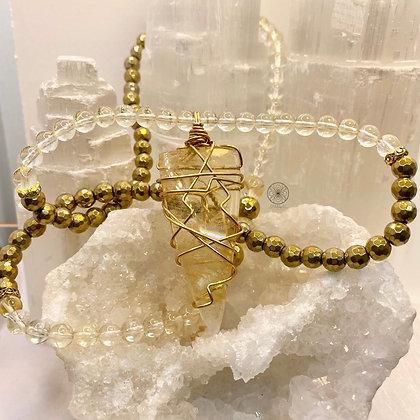 Citrine Brass Hematite Pendant