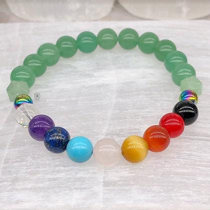 Anahata Chakra II Rainbow Hematite Stretch Bracelet