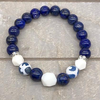 Lapis Lazuli White Onyx Stretch Bracelet